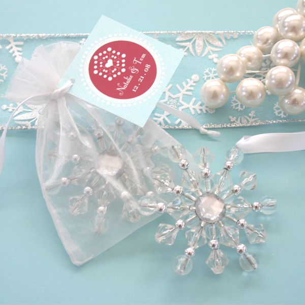 Beaded Snowflake Ornaments Winter Wedding Favors Winter wedding