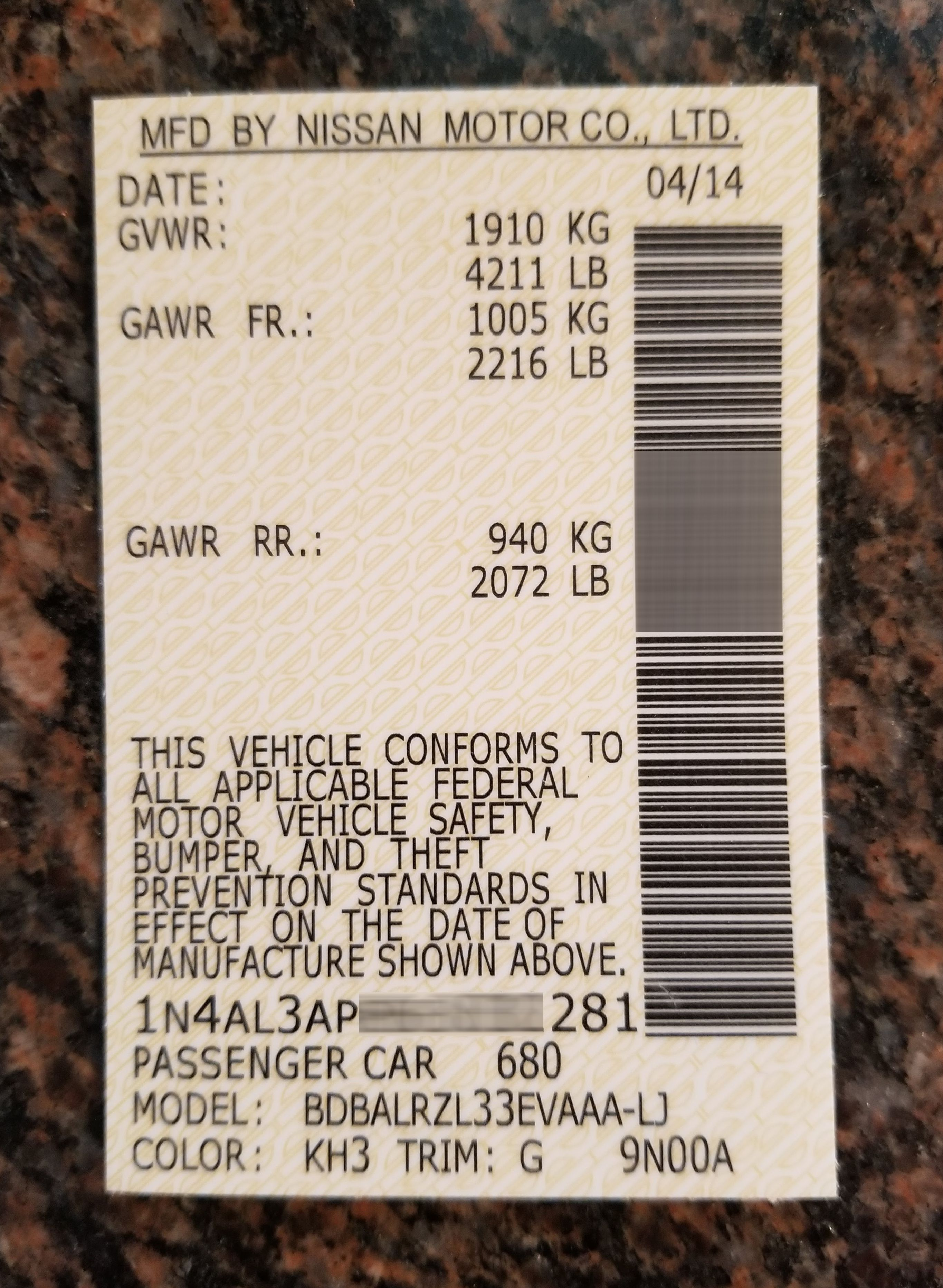 Nissan Barcode Label Nissan Motor Vehicle Safety Barcode Labels