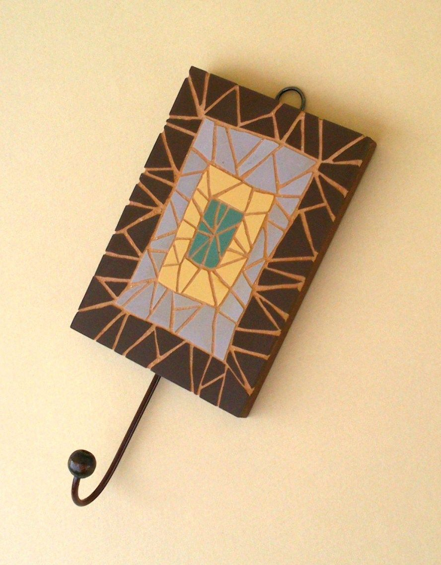 Decorative coat hook with handcut ceramic mosaic tiles. | mosaics by ...