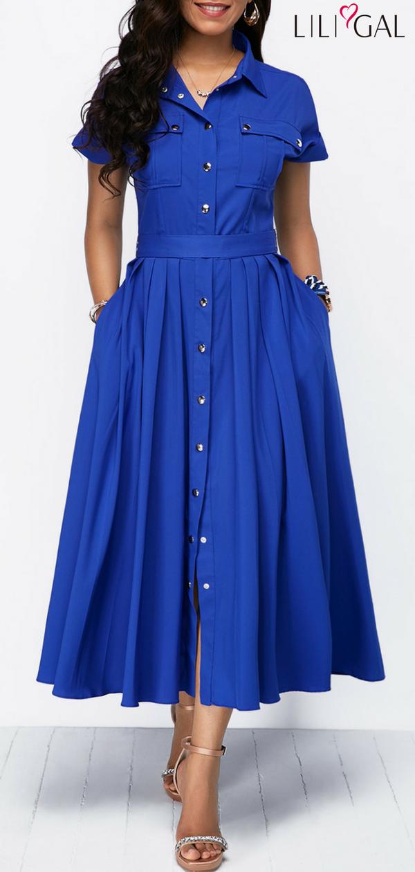 b70867957d0 Royal Blue Button Front Bowknot Back Pleated Dress  liligal  dresses   womenswear  womensfashion