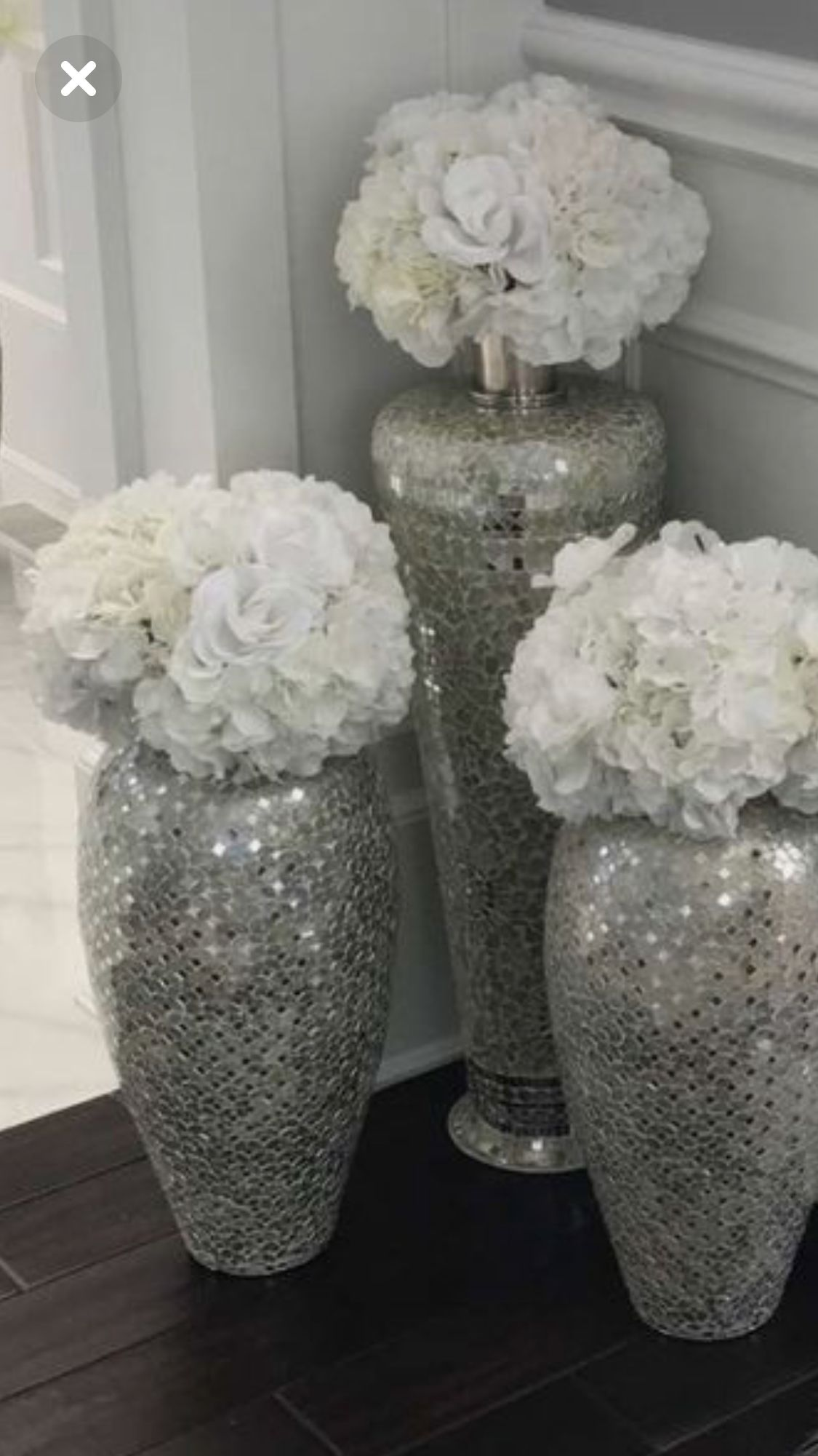 Pin By Briana On Centerpieces Silver Living Room Decor Silver Living Room Glitter Vases