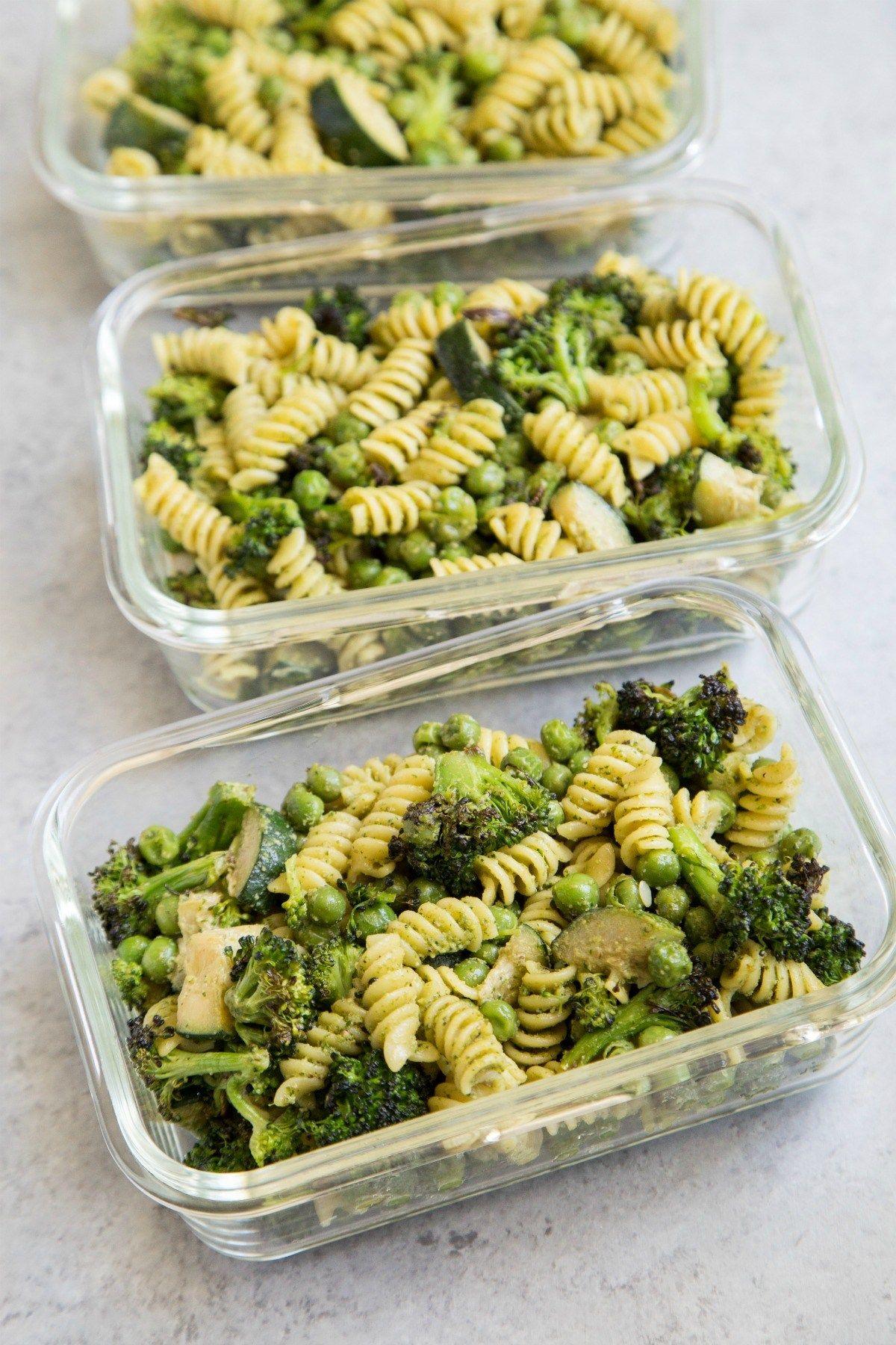 Arugula Pesto Pasta Meal Prep Recipe Vegetarian Meal Prep Vegetarian Lunch Healthy Meal Prep