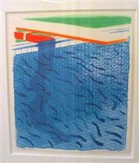 Pool Made with Paper Blue ink for Book by David Hockney