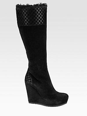 Gucci Courteney Suede and Lamb Fur Wedge Boots....♥ ooh la la!