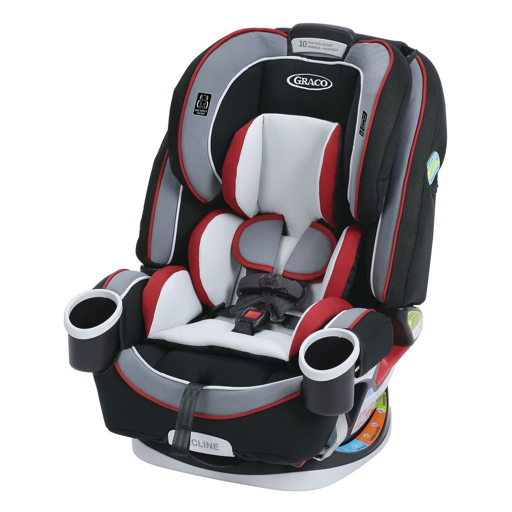 Graco Cougar 4Ever Black Grey Red Metal Plastic All In One Car Seat Size 60 Lb Capacity