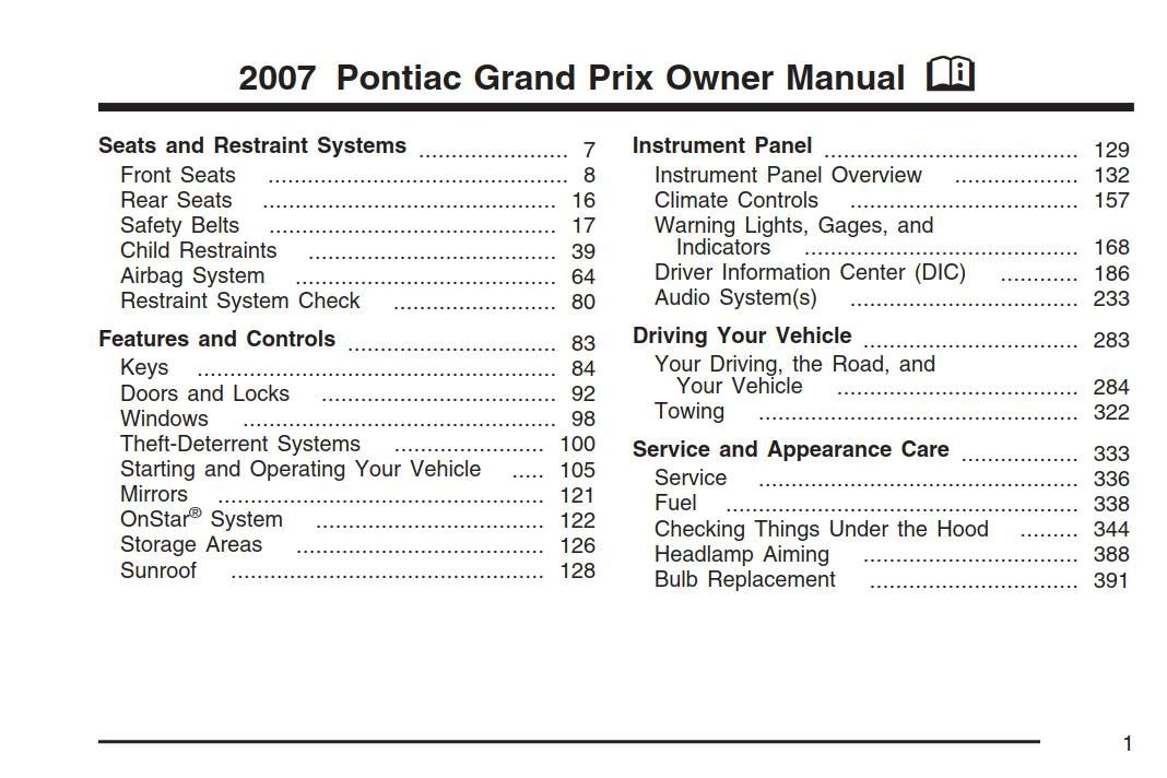 Pontiac GrandPrix 2007 Owner's Manual has been published