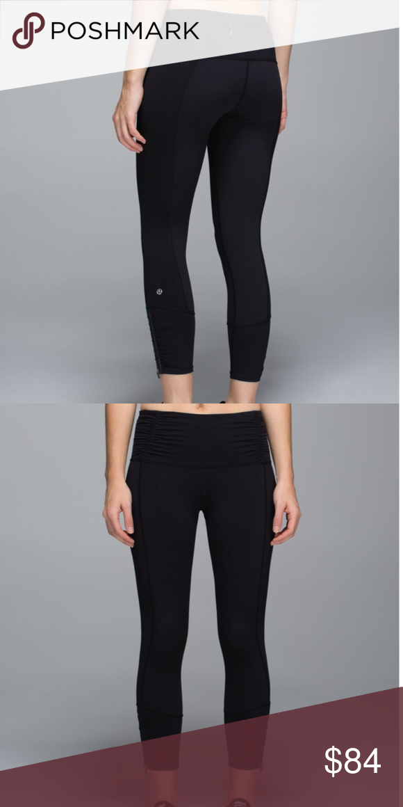 00548f0a9c4a72 Lululemon Runday Crop in Black, Rare Lululemon Runday Crop in Black. Size 8,  made of Power Luxtreme Fabric. Rear zipper pocket, and zippered hems.
