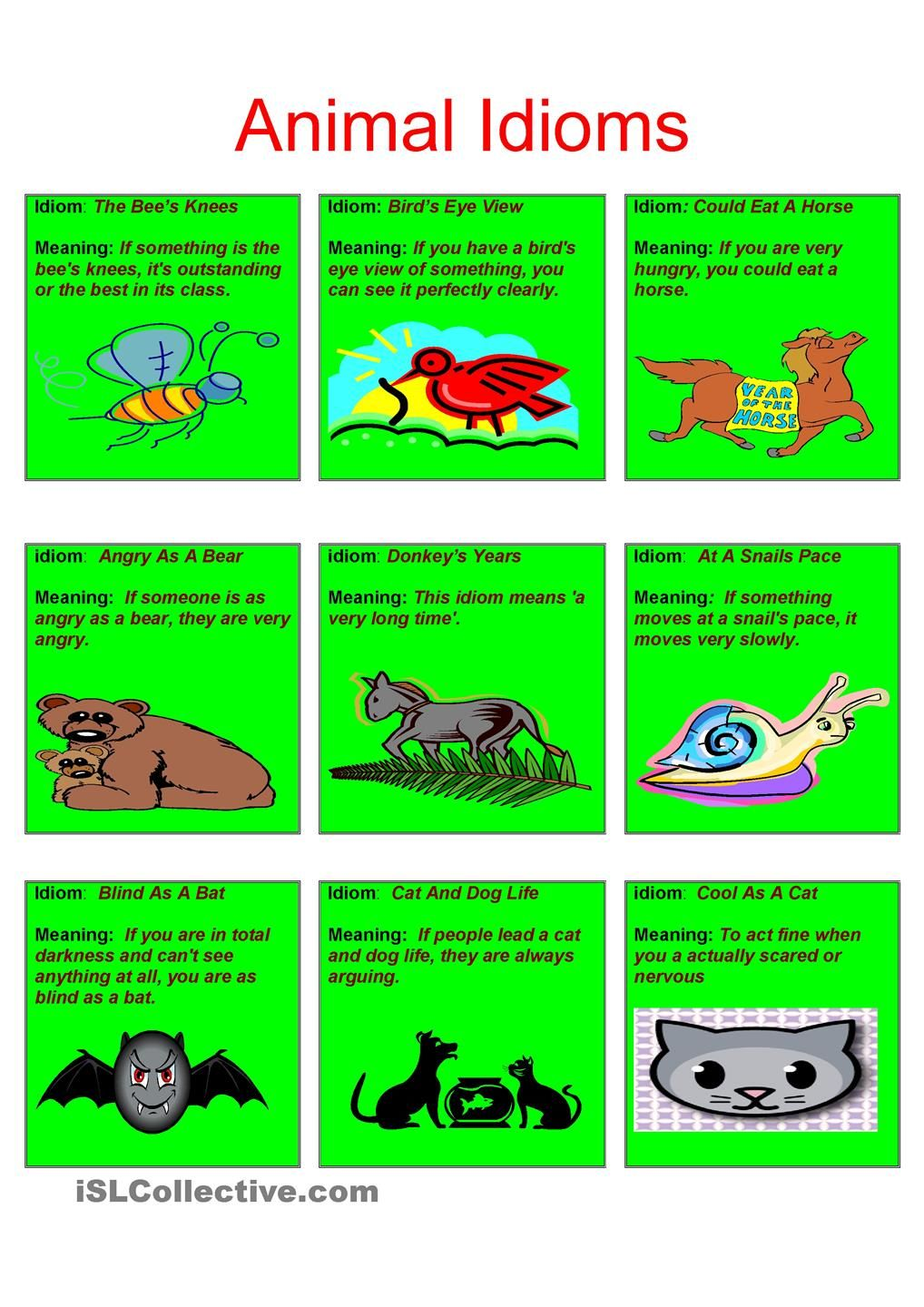 Animal Idioms Easy English Pinterest Worksheets Printable