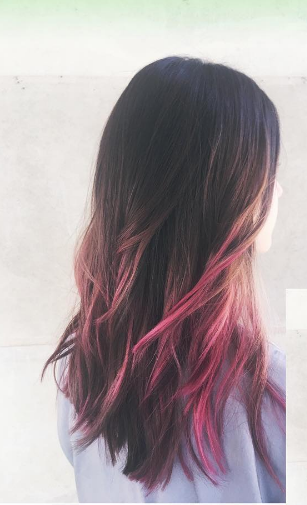 Brown To Pink Balayage Hair By Salon By Milk Honey Stylist Jordan M Brunette Pi Brown And Pink Hair Hair Streaks Hair Color Ideas For Brunettes Balayage