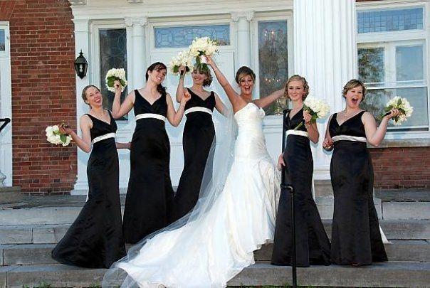 Black and Ivory Bridesmaid Dresses