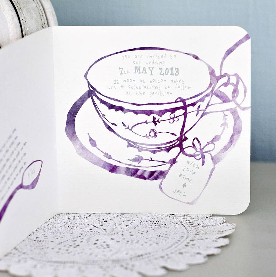 Afternoon Tea Wedding Invitation By Julia Eastwood