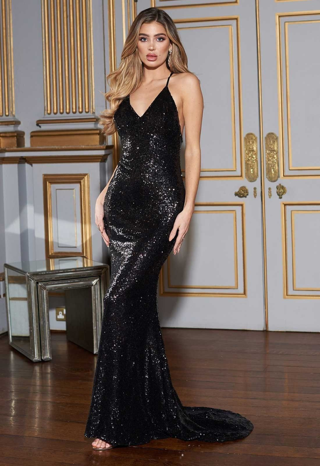 4c166d28422 This stunning sequined floor-length gown from Club L London will definitely  turn heads this