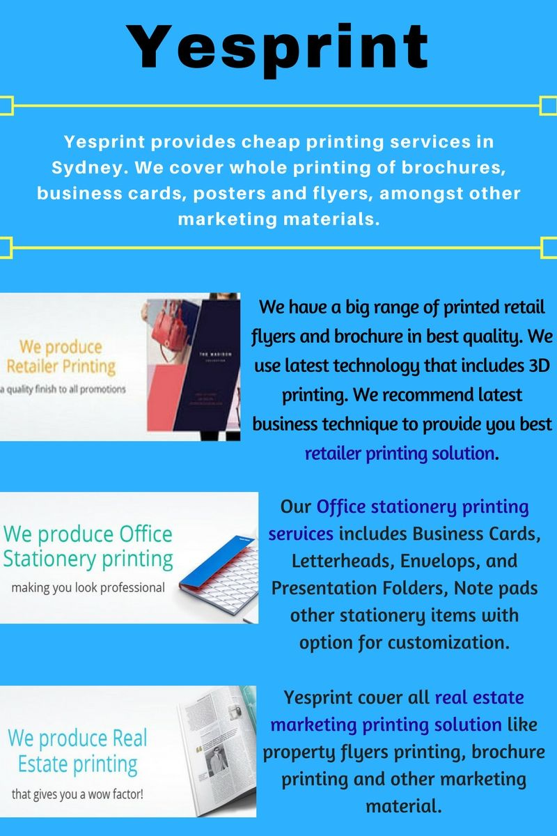 Yesprint provides cheap printing services in Sydney. We cover whole ...