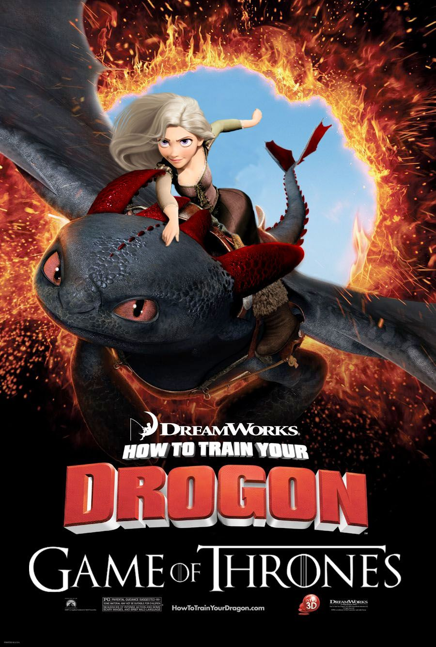 How To Train Your Drogon Mashup Movie Poster Reimagines Game Of