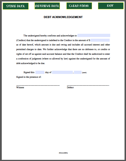 creditor can use debt acknowledgement letter for money given to friends or relatives without a legal agreement debt acknowledgement letter free pdf form