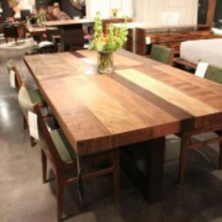 Very Unique Multi Colored Wood Stained Dining Room Table