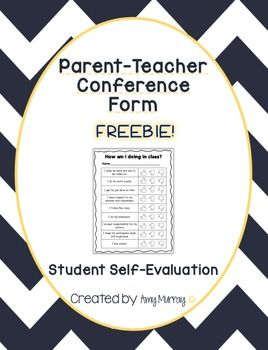 ParentTeacher Conference SelfEvaluation Form Freebie Find It