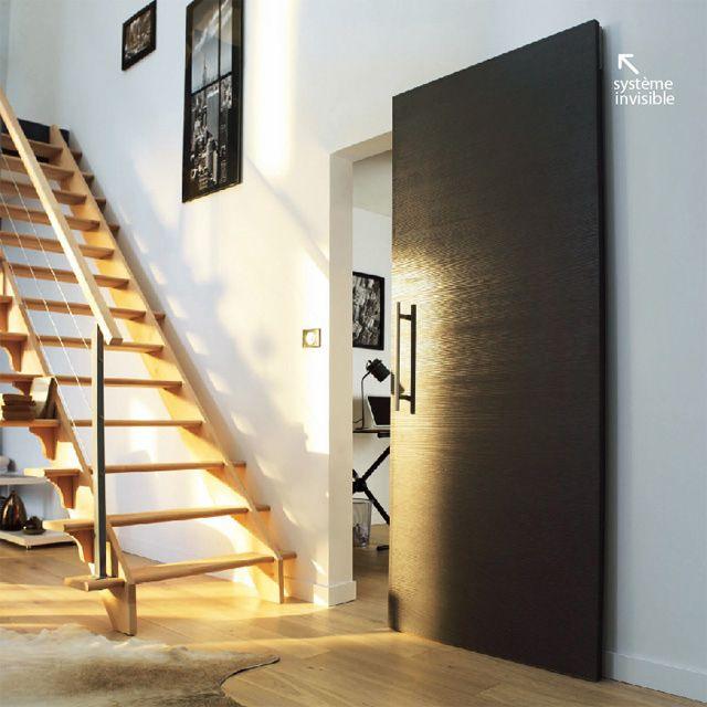 Système coulissant pour pose invisible porte bois Quinto - CASTORAMA - pose de porte coulissante