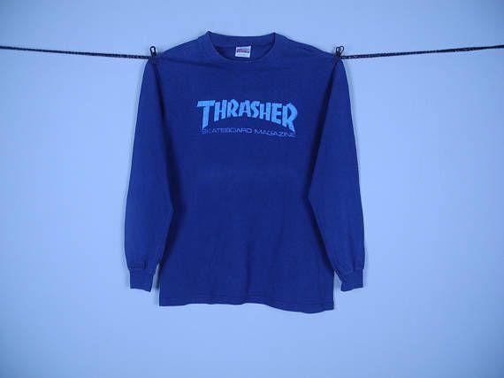 Vintage 90s Thrasher Skateboard Magazine Longsleeve Tshirt | Thrasher Catalina Skateboard Powell Peralta Tshirt | Thrasher Medium Tshirt |