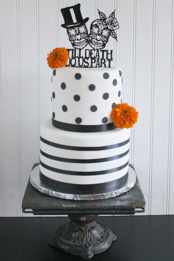 Black White And Polka Dot Till Do Us Part Day Of The Dead Wedding Cake Topper