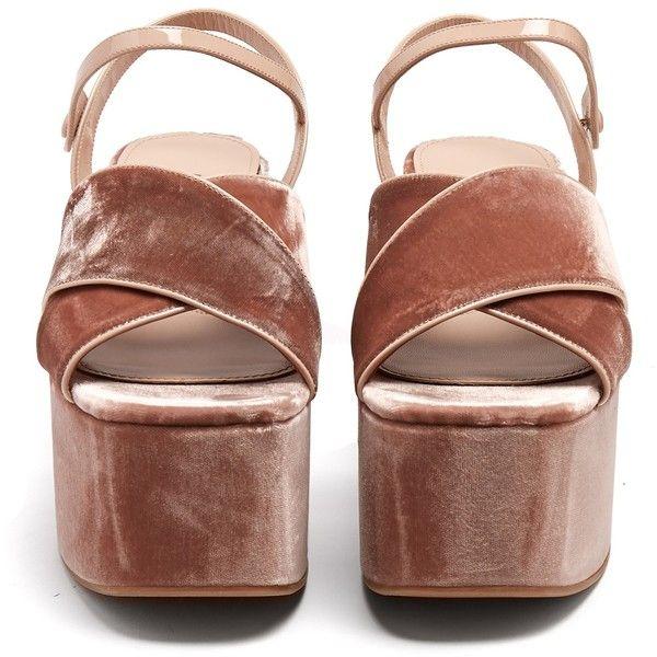 f978370cdb94 Miu Miu Crossover velvet flatform sandals (4.455 HRK) ❤ liked on Polyvore  featuring shoes