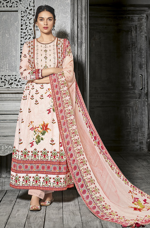 aef959fe49 Pastel Pink Designer Printed Cotton Palazzo Suit in 2019   Indian ...