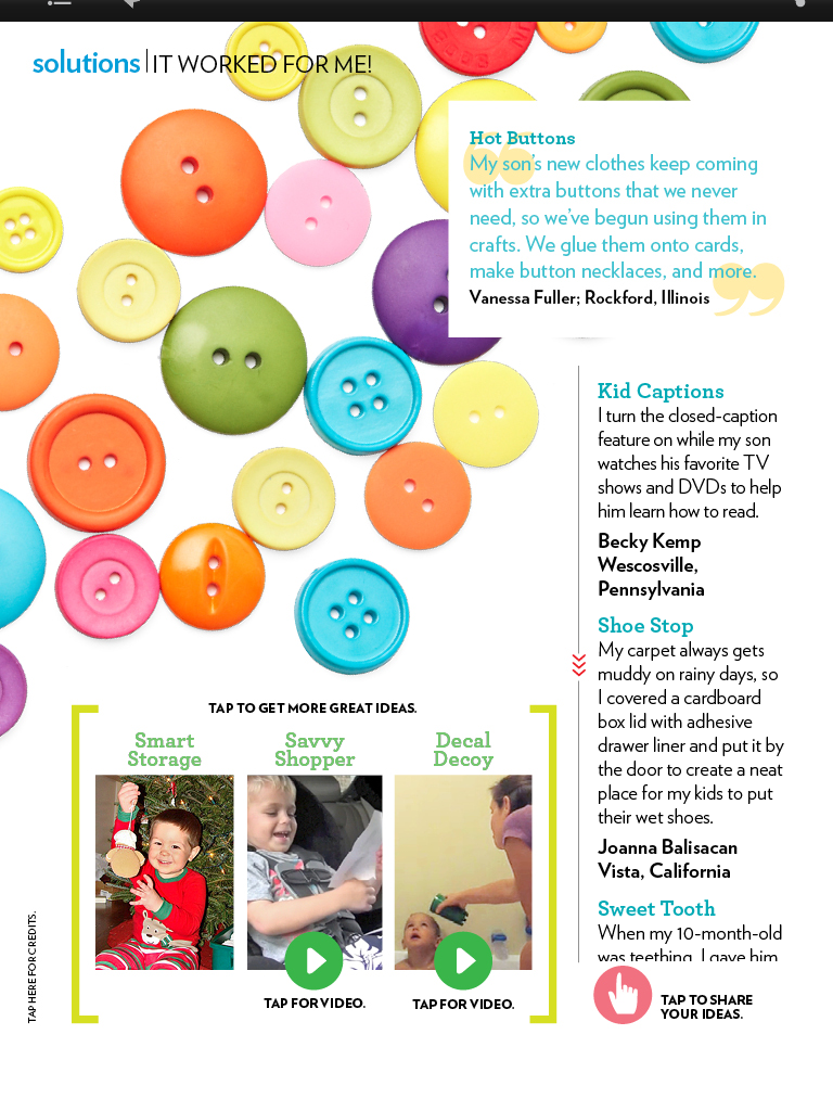 """Parents Magazine, """"It Worked For Me,"""" December 2011"""