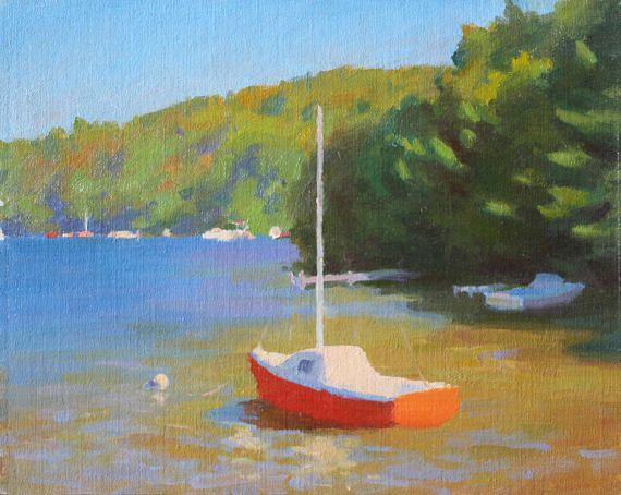 Warm Inlet Sail Boat on Water Impressionist Painting Summer Day ...