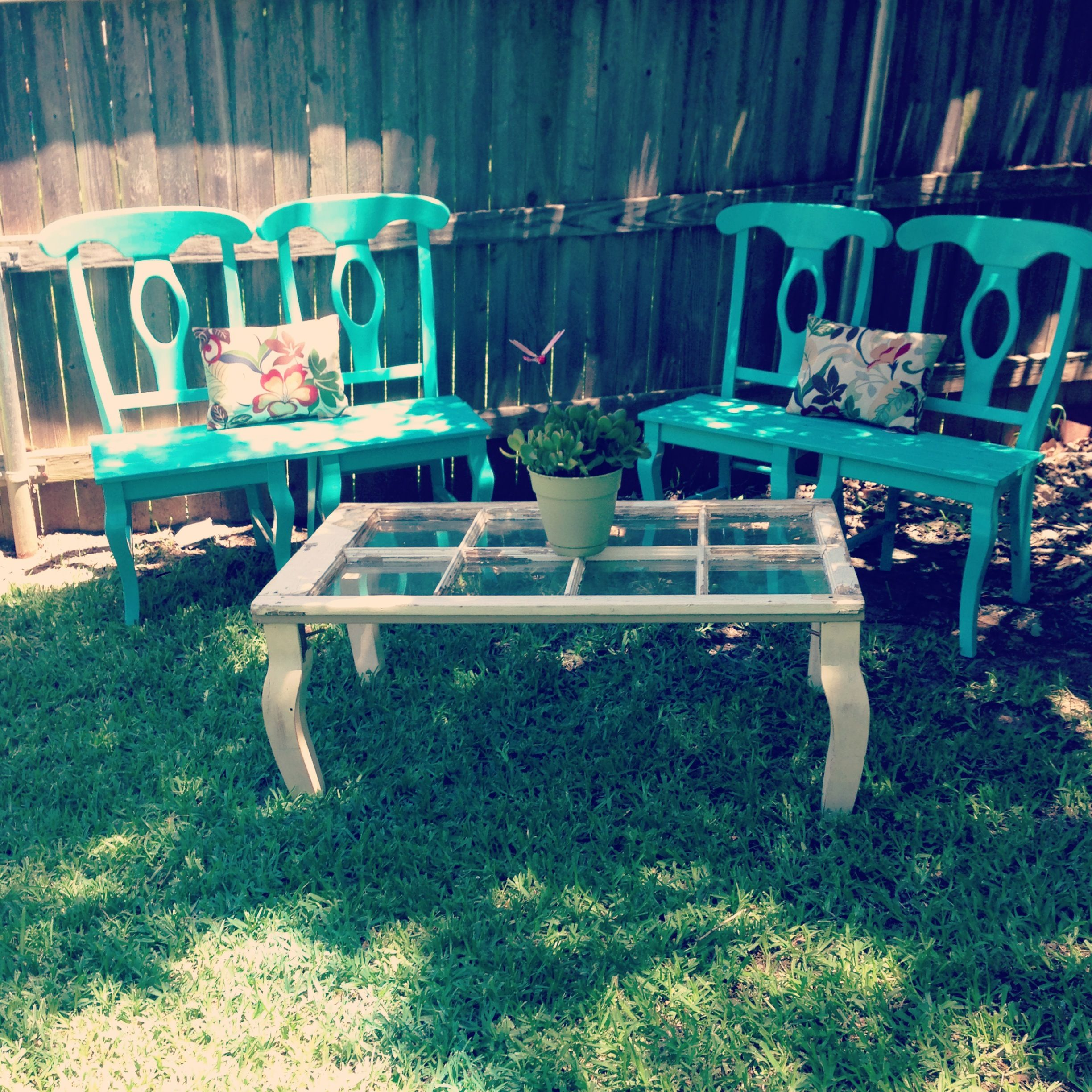 Repurposed Kitchen Chairs Into Bench Add Board Seat And An Old Window Into Coffee Table Perfect Fo Chairs Repurposed Repurposed Kitchen Repurposed Furniture