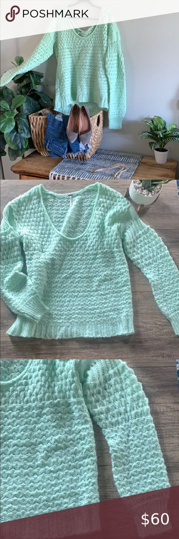 Free People wool blend oversized sea green sweater