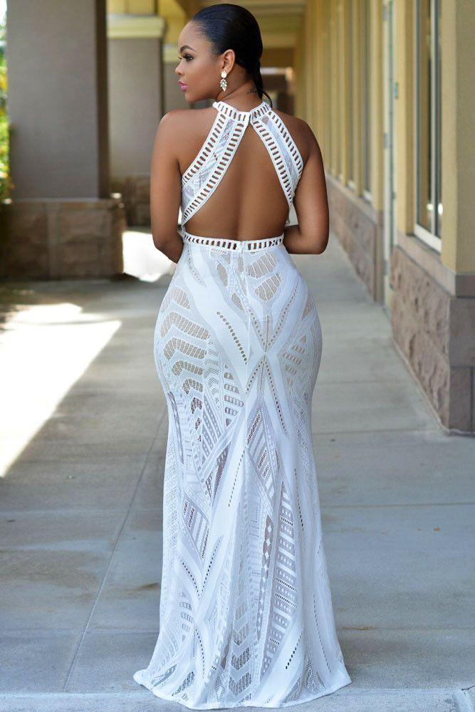 890f6465f7b White Lace Nude Illusion Key-Hole Back Maxi Dress | Women's fashion ...