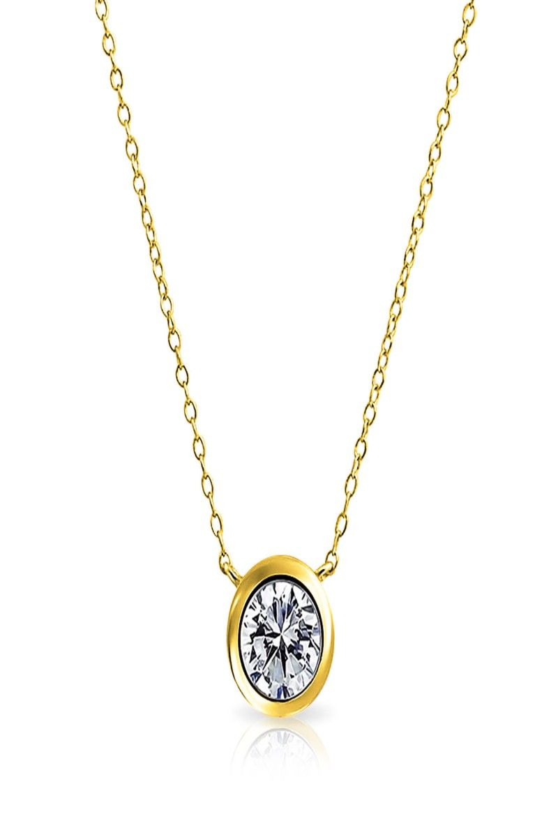 Bezelset round cz solitaire pendant gold plated necklace inches