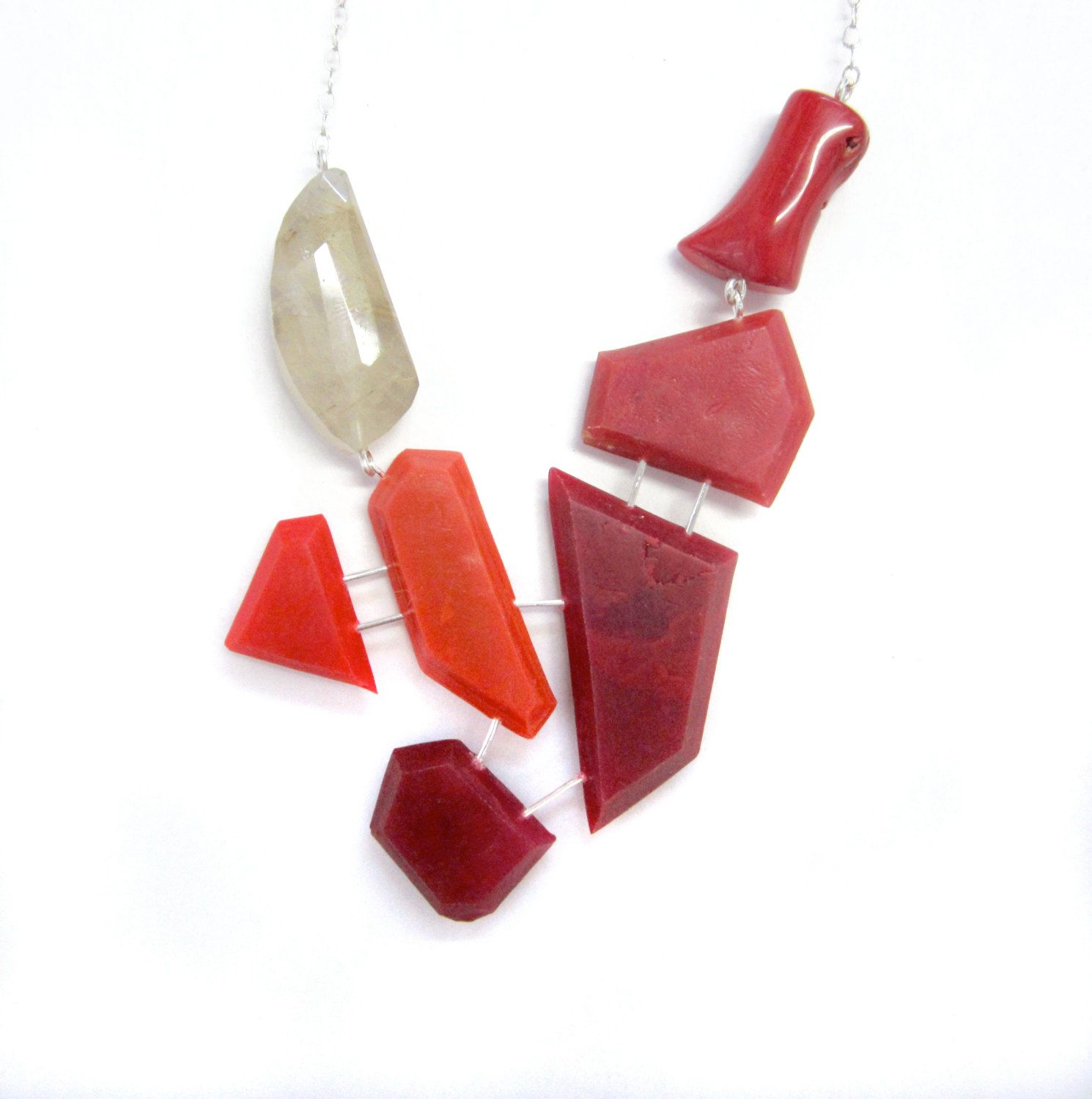 Red statement necklace with genuine coral and rutile quartz on sterling silver. Geometric jewelry, handmade, one of a kind. by BlueEyedSquirrel on Etsy