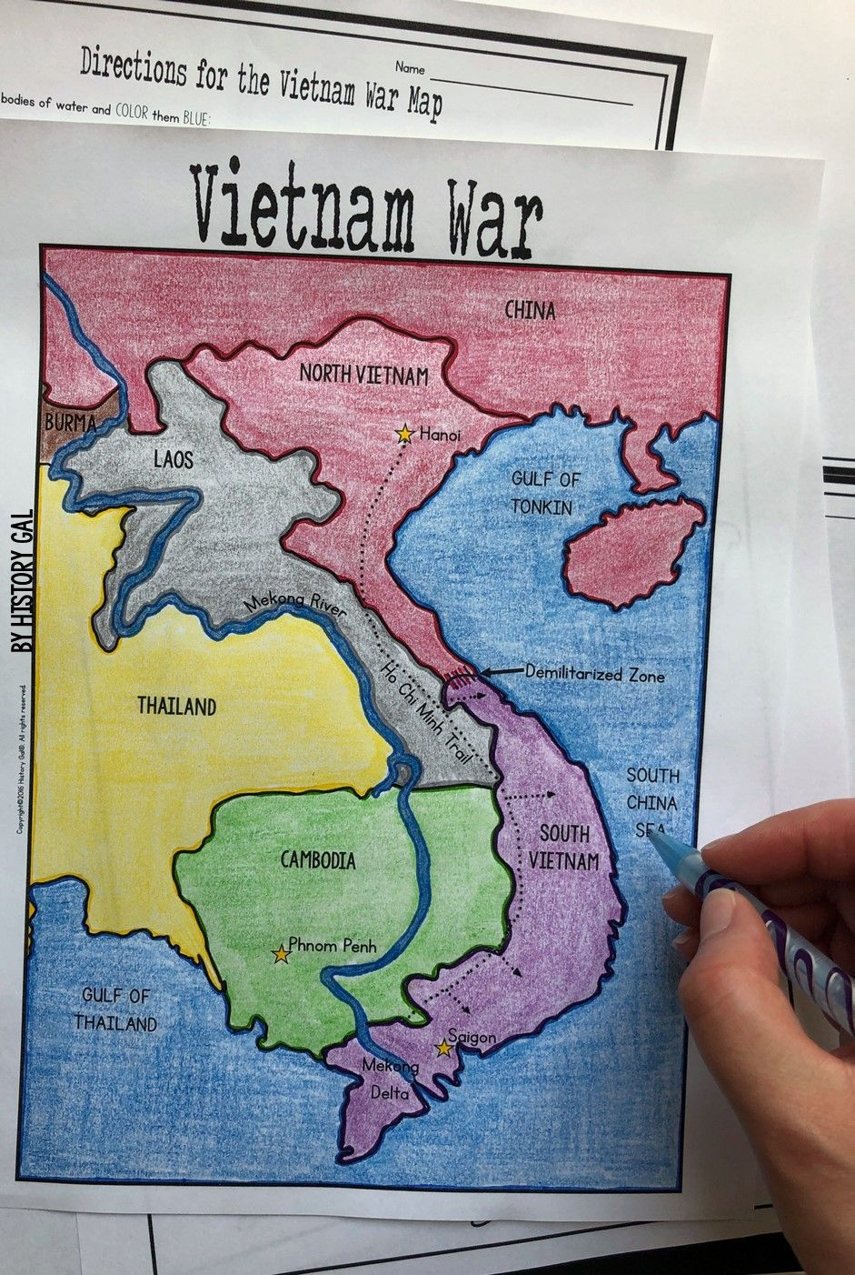 This Vietnam War Map Activity From History Gal Will Help Students Become More Familiar With The Countries Surroun Vietnam War Vietnam War Photos Map Activities