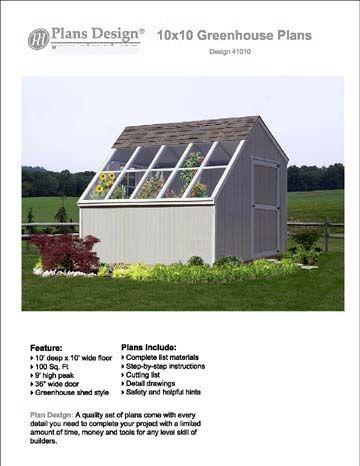 10 X 10 Greenhouse Backyard Garden Shed Plans #41010