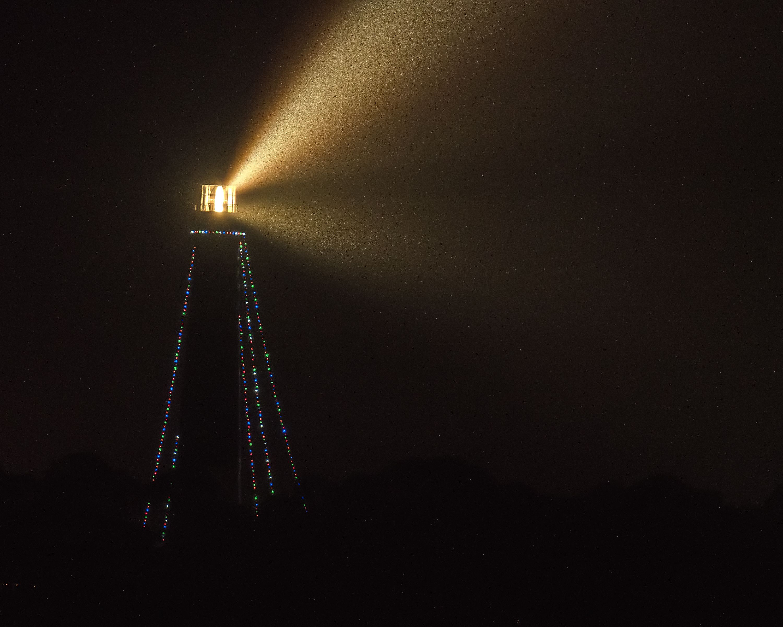Christmas Lights Pensacola 2020 Pensacola Lighthouse with Christmas Lights attached on a rainy