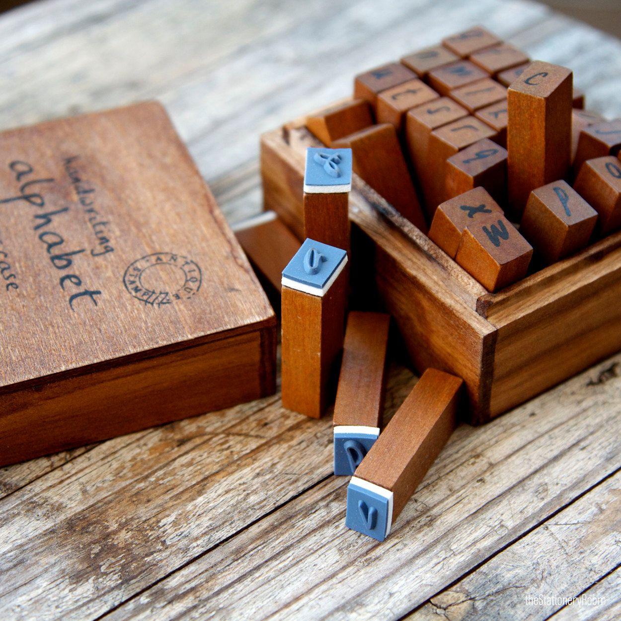 Wooden Rubber Handwriting Alphabet Stamps Set