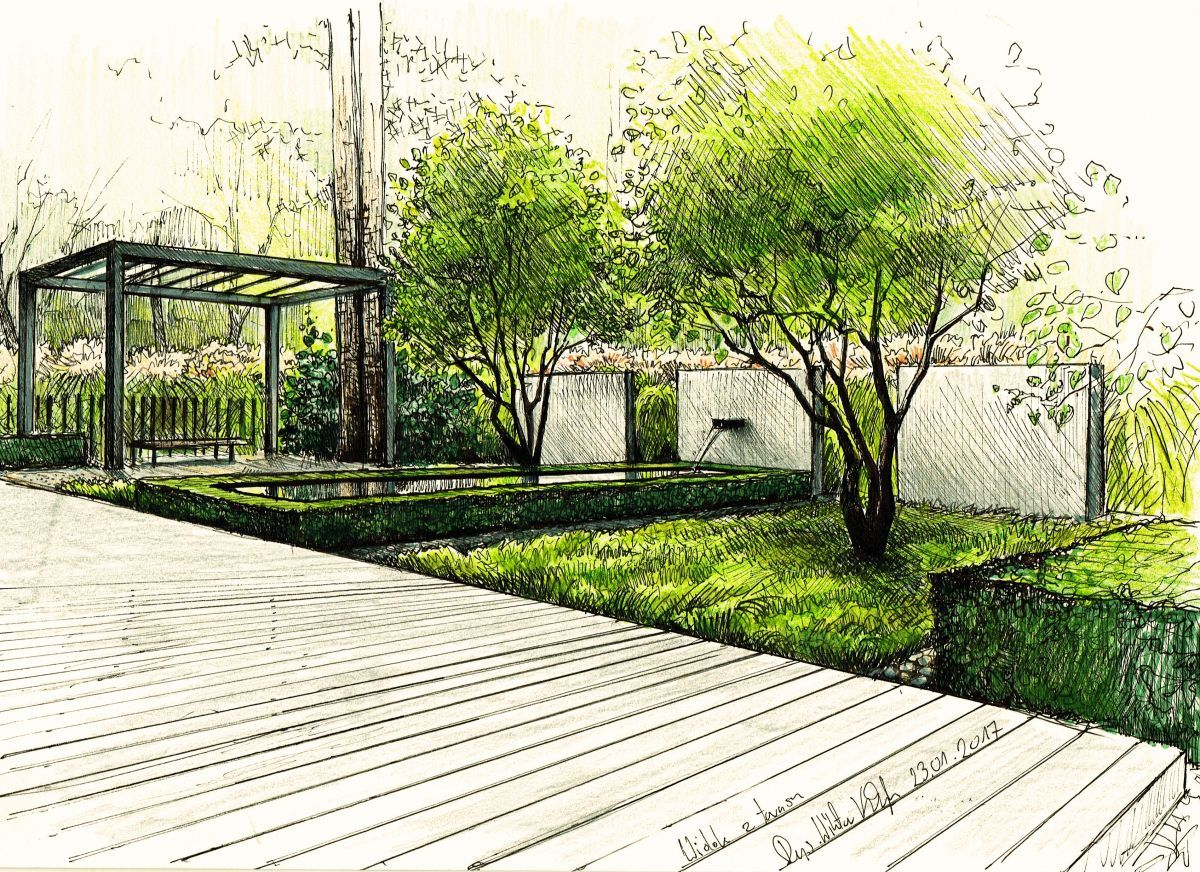 Pond pergola szczecin wiktor klyk perspective for Croquis jardin paysager