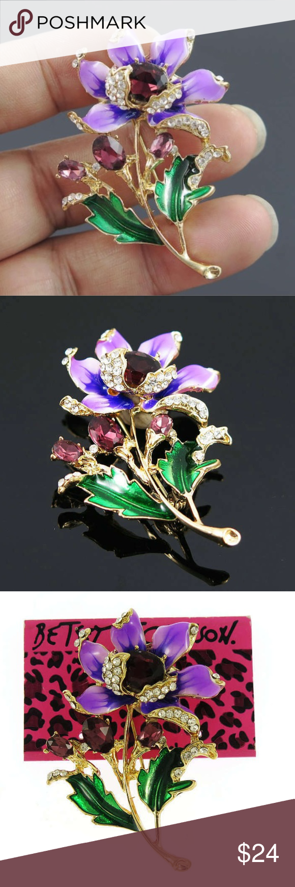 NWT- Purple Flower Rhinestones  Pendent & Brooch Details , details !  Take a look at this beauty!  It is stunningly gorgeous piece.  Made with cz's and rhinestones. The purple enamel is striking. When something in life shows up this pretty,  you just gotta have it !   Wear with anything, you'll get tons of compliments!   Its a 2 in 1 ,  both a pendant  plus a brooch pin.  Necklace is free!  Betsey Johnson Brand.  Brand New with Tags  and comes with a gift box and wrapped with ribbon. Betsey John #gottahaveit