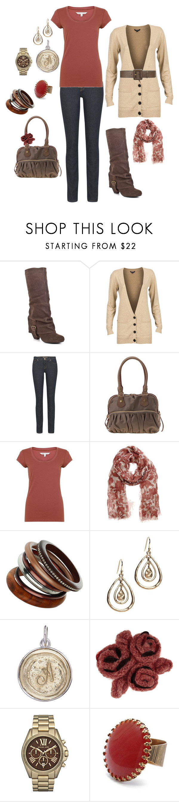 """""""Brown and rose"""" by kristen-344 ❤ liked on Polyvore featuring Naughty Monkey, mbyM, J Brand, Yves Saint Laurent, kew.159, Balenciaga, Wallis, Lucky Brand, Waxing Poetic and Missoni"""