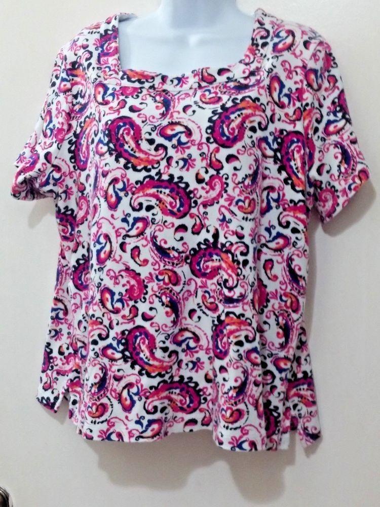 Kim Rogers Blouse Top 1x Cotton Paisley Pink Orange Blue Short
