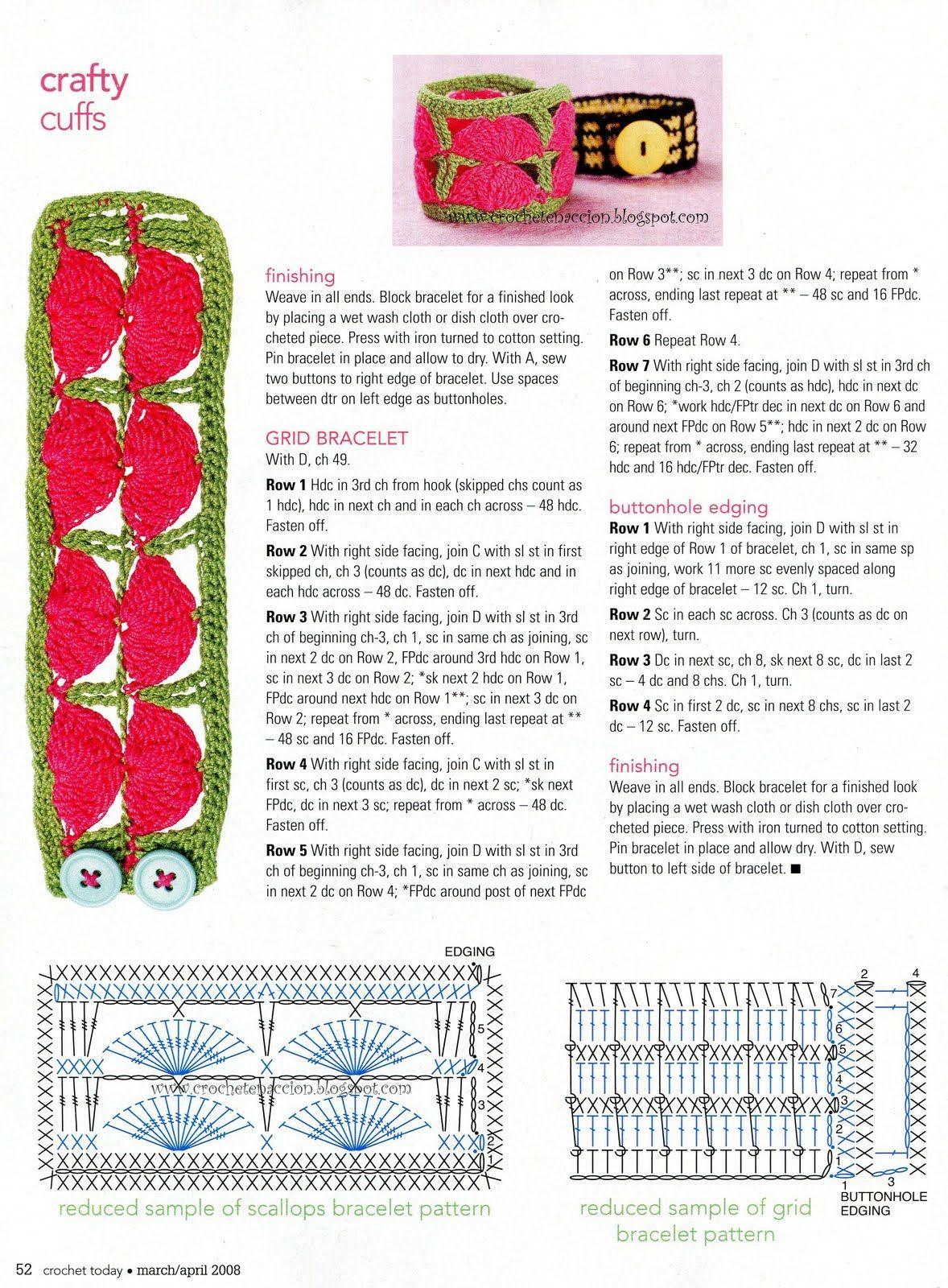 4 Awesome patrones de pulseras tejidas a crochet images | amigurumi ...