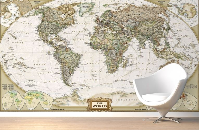 Traditional old style world map mural muralswallpaper wall traditional old style world map mural muralswallpaper gumiabroncs Images