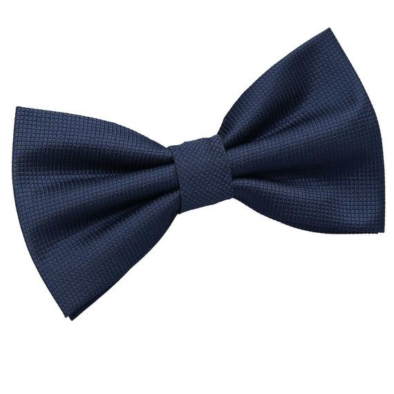 Solid Check Navy Blue Bow Tie by DQTUK on Etsy