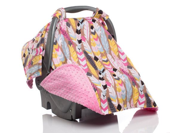 Feather Pink Native Girl Carseat Canopy Baby Car Seats Baby Carseat Canopy Car Seats