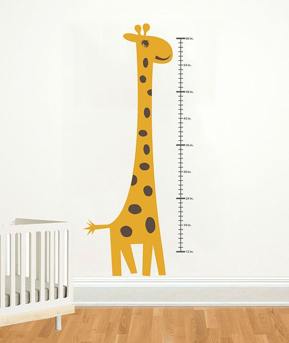 Height Chart Wall Decal Giraffe Growth Chart By Decallab On Etsy