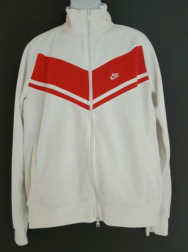 7c9c42c067e8 NIKE RETRO WHITE RED BASKETBALL WARMUP SOCCER TRACK JACKET MENS XL  Nike   CoatsJackets