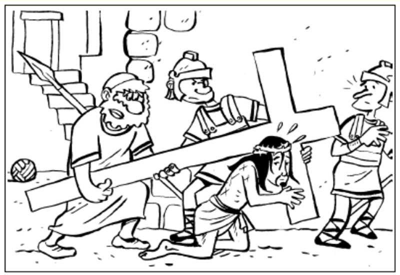Pinto Dibujos: Jesus cargando la cruz para colorear | dibujos ...