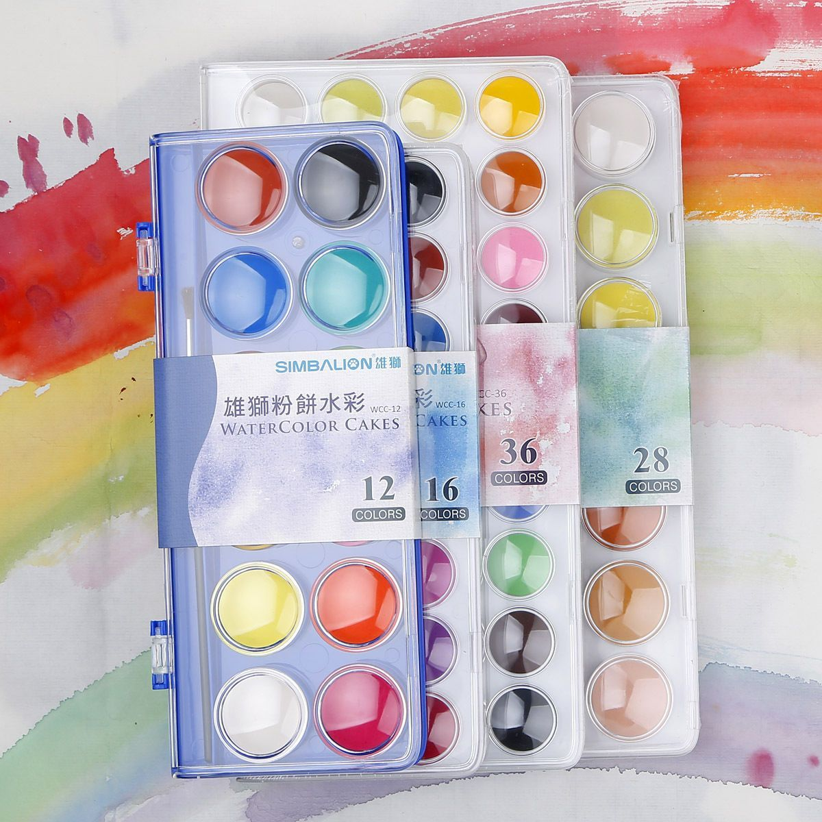 Simbalion 12 16 28 36 Colors Set Watercolor Cakes Solid Watercolor