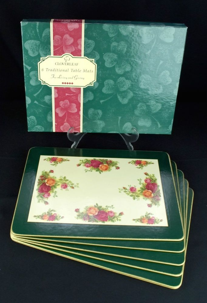 6 Royal Albert Old Country Roses Cloverleaf Laminate Table Mats Boxed